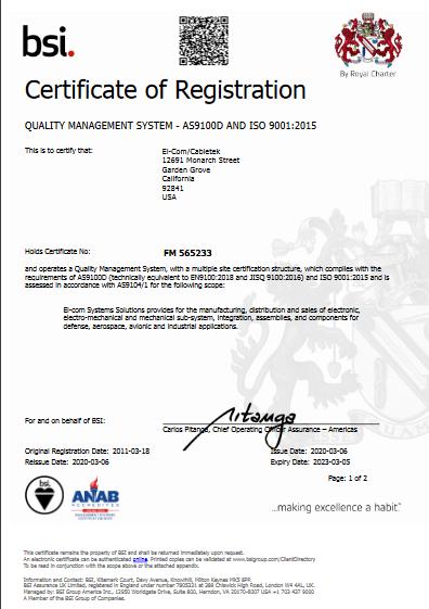 El-Com Cabletek - FM 565233 - ISO 9001;2015 AS9100D Certificate Multsite pdf