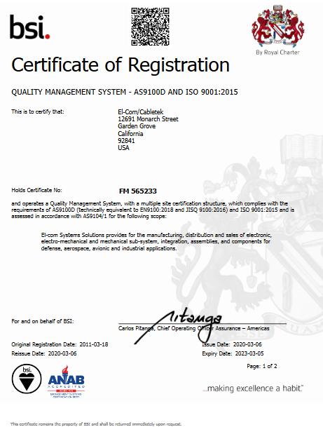 El-Com Cabletek - FM 565233 - ISO 9001_2015 AS9100D Certificate Multsite